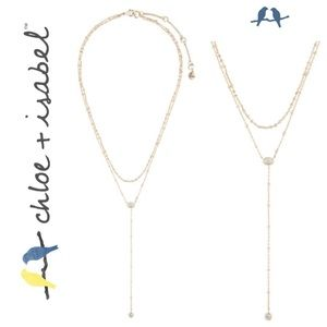 🆕 Crystal Drop 2-Row Y-Necklace GOLD c+i N594CLSG
